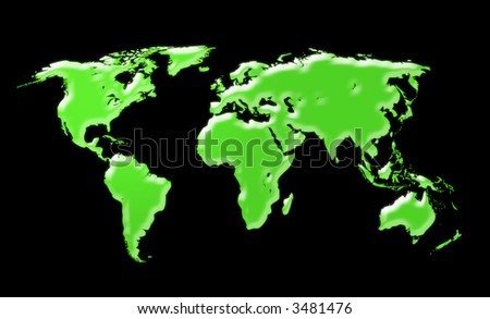 World map - black background - stock photo