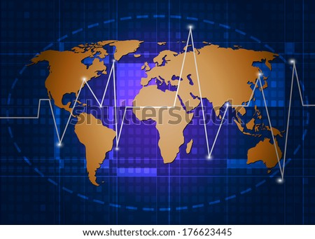 World map .Blue abstract technology background.