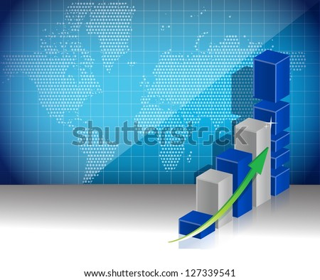 world map business graph profits concept illustration background - stock photo