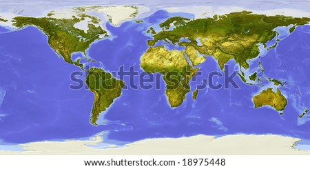 World map centered on Africa. Shaded relief colored according to vegetation. Shows polar and pack ice, large urban areas. - stock photo