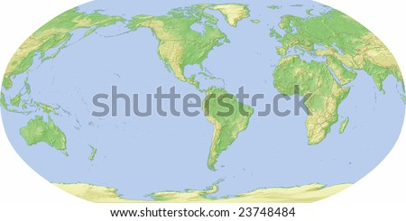 World map centered on america shaded stock illustration 23748484 world map centered on america shaded relief with borders includes clip path for gumiabroncs Choice Image