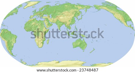 World map, centered on Asia, shaded relief with borders.  Includes clip paths for map outline.  Data source: NASA - stock photo