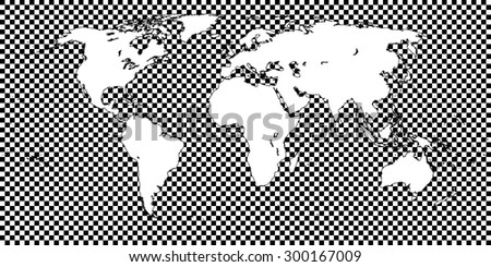 World Map Checkered Black 1 Big Squares - stock photo