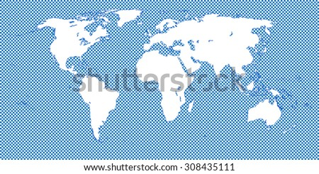 World Map Checkered Blue 2 Medium Squares - stock photo