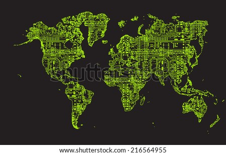World Map  circuit board background - stock photo