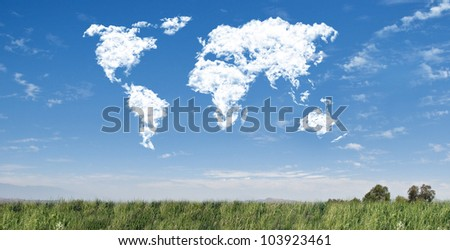 World map cloudscape - stock photo