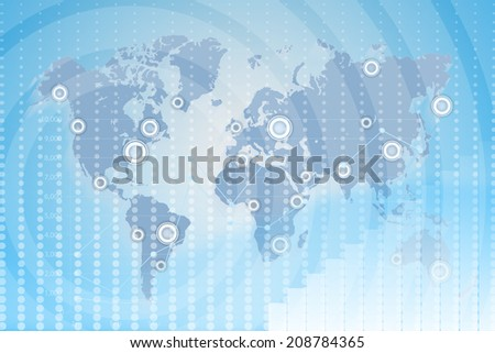 World Map. communications technology business. global business between states