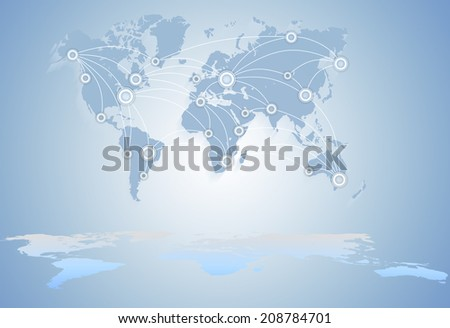 World Map. communications technology business. global business between states - stock photo