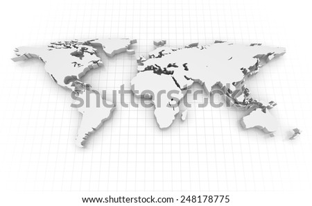 World map , computer generated image. 3d rendered image. - stock photo