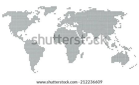 World map concept dot gray - stock photo