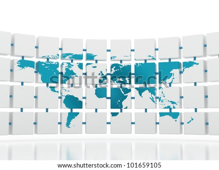 World map connected global concept - stock photo
