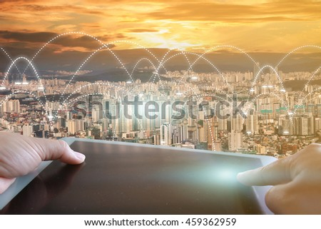 World map connected, social network, social media, networking concept. - stock photo