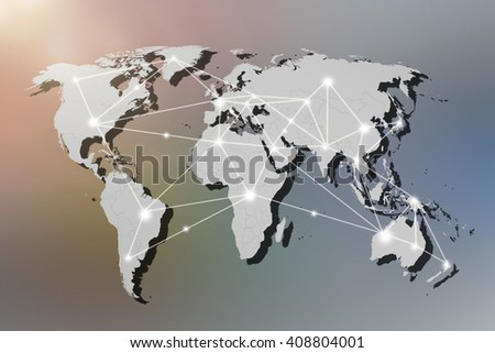 world Map connection concept,networking concept, Elements of this image furnished by NASA - stock photo