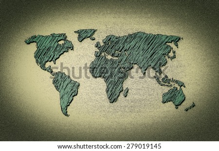 World map contour illustration, hand drawn, sketch - stock photo