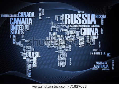 World map: countries in wordcloud - stock photo