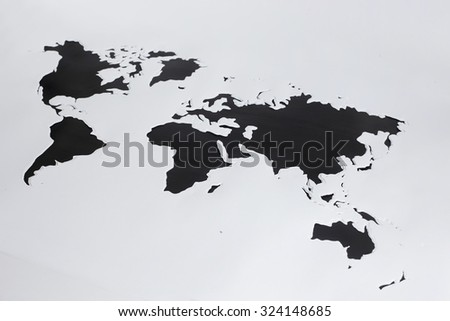 World map.Cut out paper - stock photo