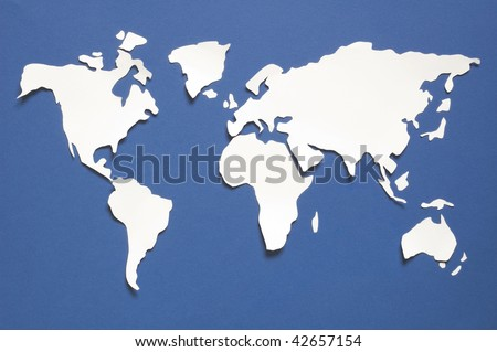 World map cutout - stock photo