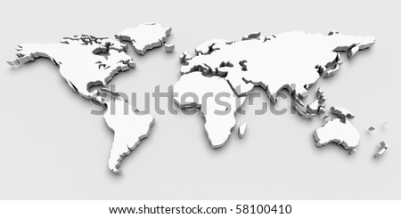 World Map. 3D render - stock photo