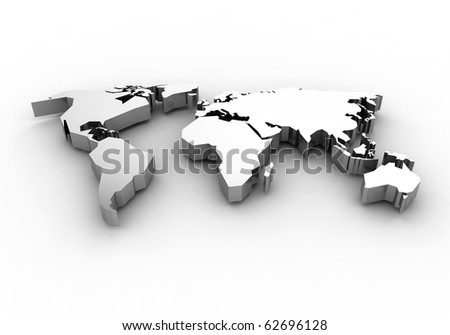 World map - 3d render - stock photo