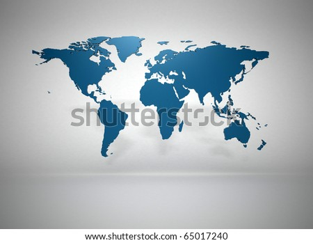 World map 3d render - stock photo