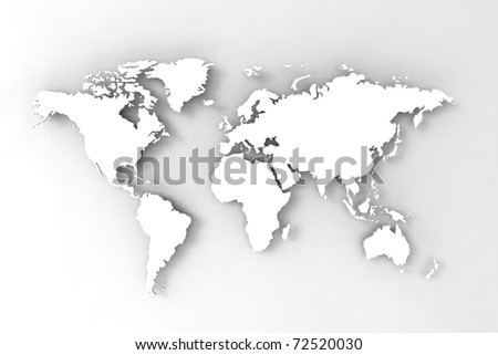 World Map, 3D render - stock photo
