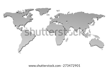 World Map. 3D. World paper map - stock photo