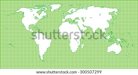 World Map Dotted Green 1 Big Dots - stock photo