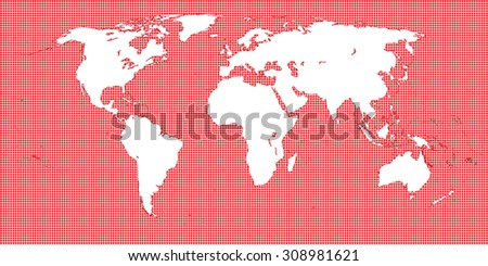 World Map Dotted Red 2 Medium Dots - stock photo