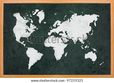 World map draw on blackboard with wooden frame - stock photo