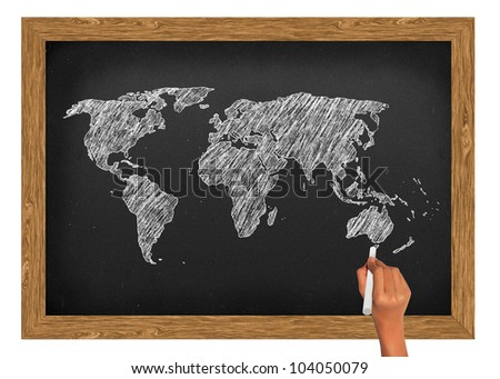 World map draw on blackboard wood frame with clipping path - stock photo