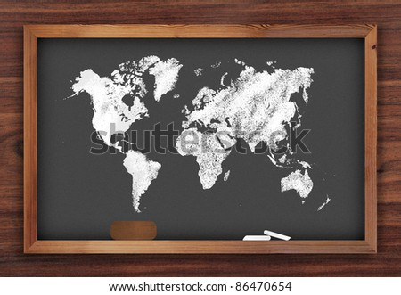 World map draw on chalkboard - stock photo