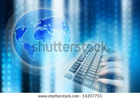 world map, earth globe, keyboard and binary numbers as concept for internet and connectivity