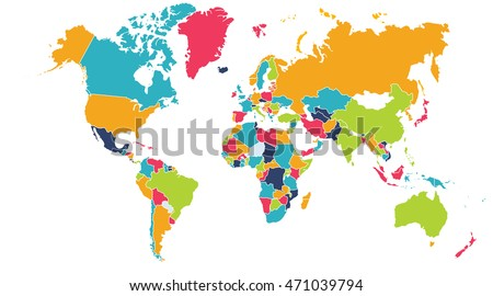 World Map Europe Asia North America Stock Illustration 471039794 ...