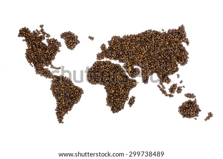 World map filled with coffee beans isolated on white background - stock photo