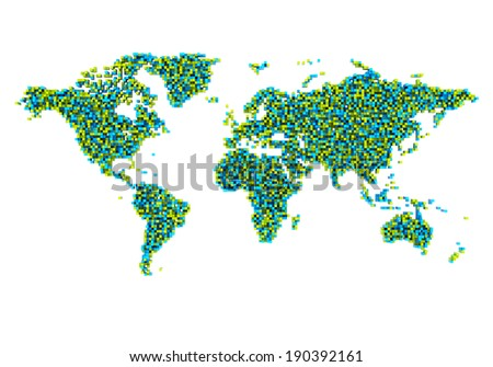 World Map from cubes - stock photo