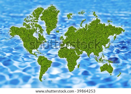 world map from grass and water