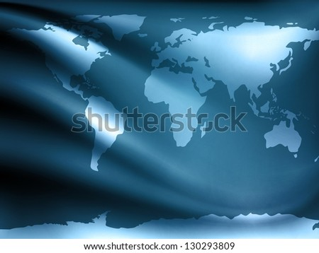 World Map (From NASA Public Domain http://earthobservatory.nasa.gov/Globa lMaps) Over Drapery Background - stock photo