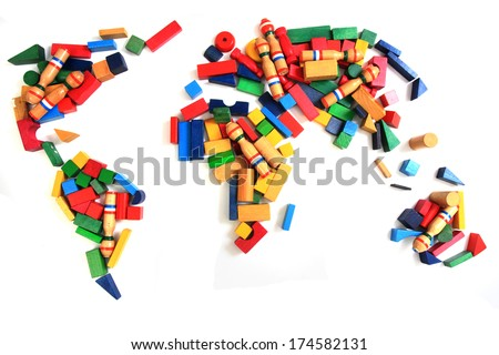 world map from wooden bricks