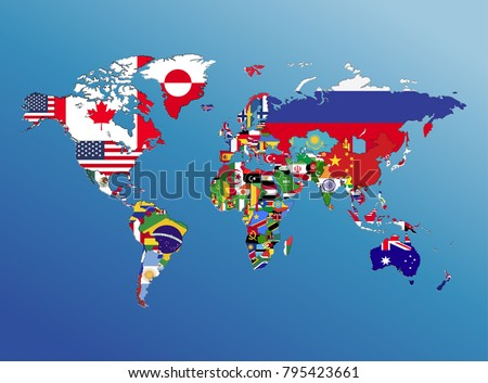 World map geography nation flag america ilustracin en stock world map geography and nation flag america europe asia africa with blue backgroundpaper art gumiabroncs Gallery
