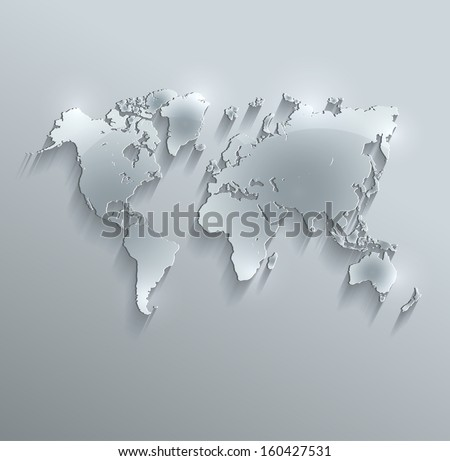 world map glass card paper 3D raster blank - stock photo