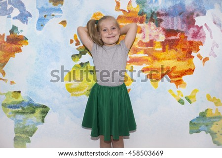 World Map Global International Globalisation Concept. Beautiful little girl schoolgirl in glasses and tail  with different emotions