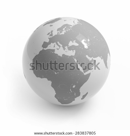 World map globe isolated with clipping path on white - Africa, Europe, Asia - stock photo