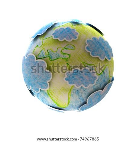 world map hand-drawn - stock photo