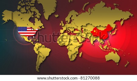 World map highlight china usa stock illustration 81270088 world map highlight in china and usa gumiabroncs Choice Image
