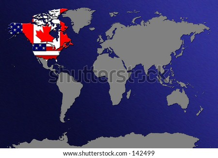 World map highlight us canada flag stock illustration 142499 world map highlight us canada with flag gumiabroncs Choice Image