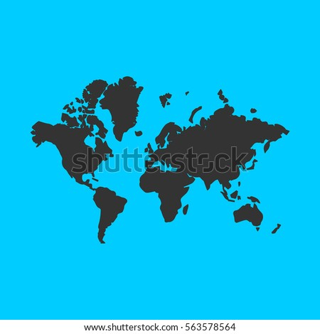 World map icon flat simple black stock illustration 563578564 world map icon flat simple black symbol on blue background gumiabroncs Image collections