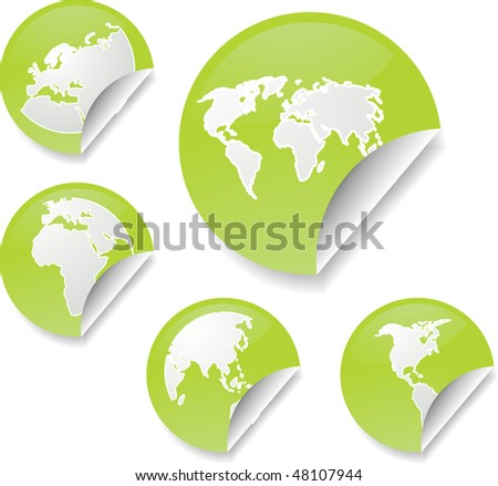 World map icons on round sticker shapes