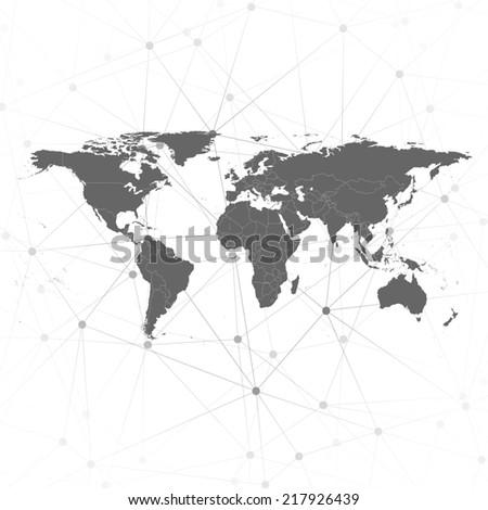 world map illustration, background for communication - stock photo