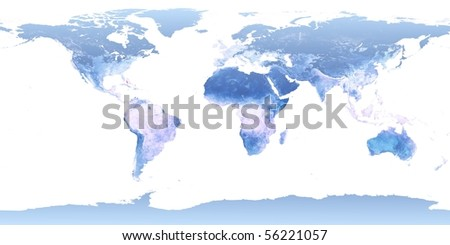 World map illustration (derived from NASA world map) - stock photo