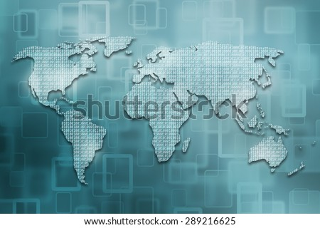 World map illustration formed by binary numbers illustration. Conceptual world map with binary code background. Turquoise color used. - stock photo